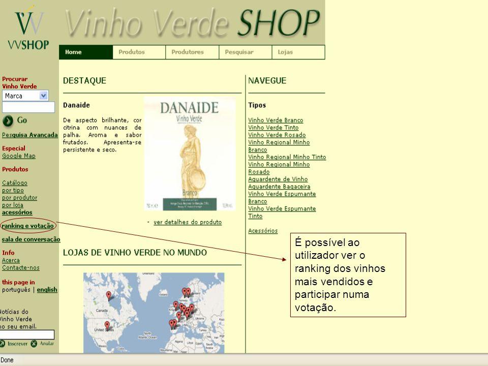 Nesta página, o utilizador pode visualizar os 10 produtos mais vendidos.