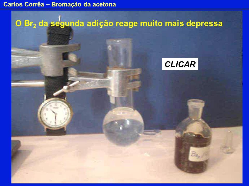 Carlos Corrêa – Bromação da acetona O Br 2 da segunda adição reagiu muito mais depressa porque já existe na solução ácido (HBr) formado na primeira adição.