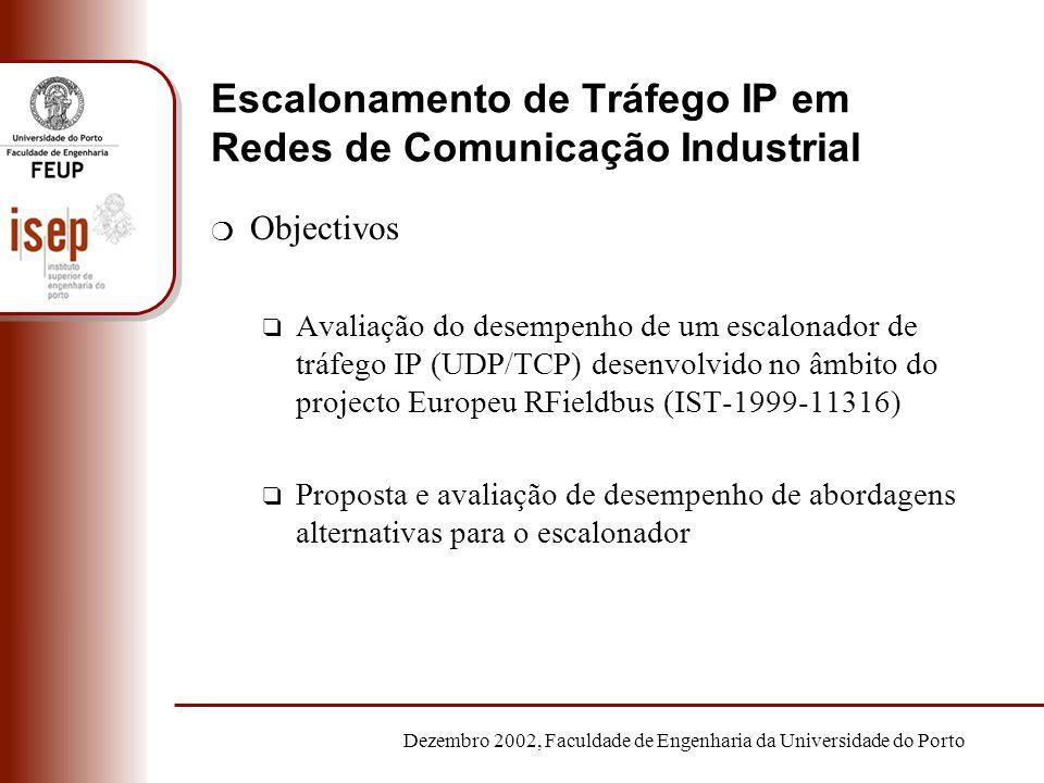 Dezembro 2002, Faculdade de Engenharia da Universidade do Porto Escalonamento de Tráfego IP em Redes de Comunicação Industrial m Objectivos q Avaliaçã
