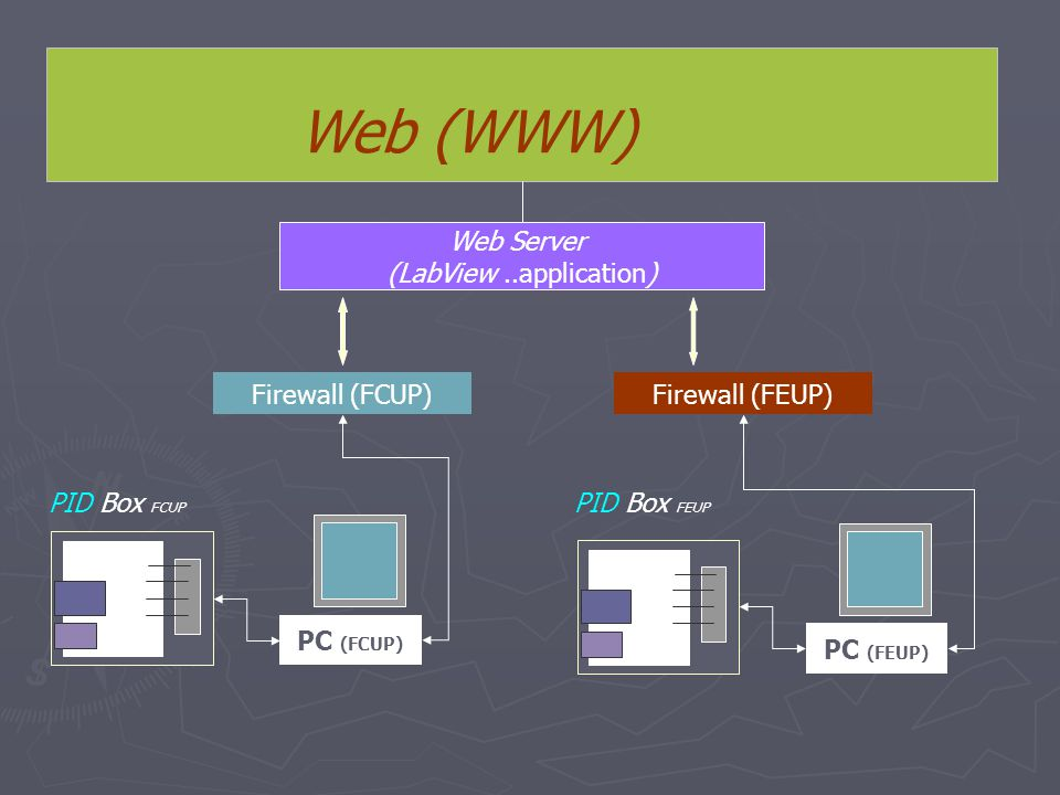 Web (WWW) Web Server (LabView..application) Firewall (FCUP) PC (FCUP) Firewall (FEUP) PC (FEUP) PID Box FCUP PID Box FEUP