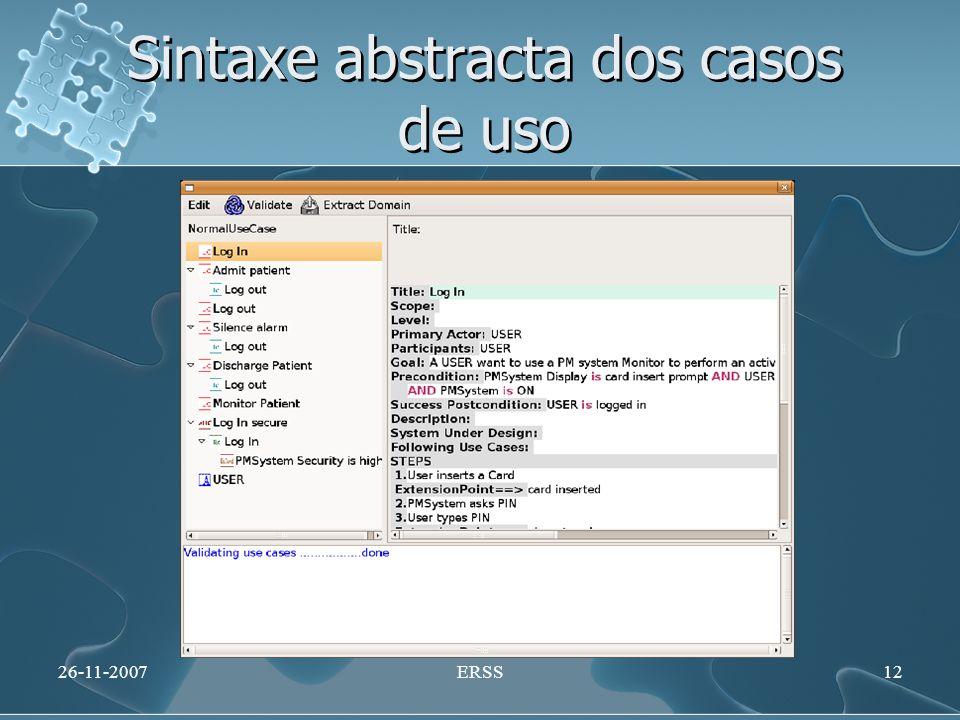 Sintaxe abstracta dos casos de uso 26-11-2007ERSS12