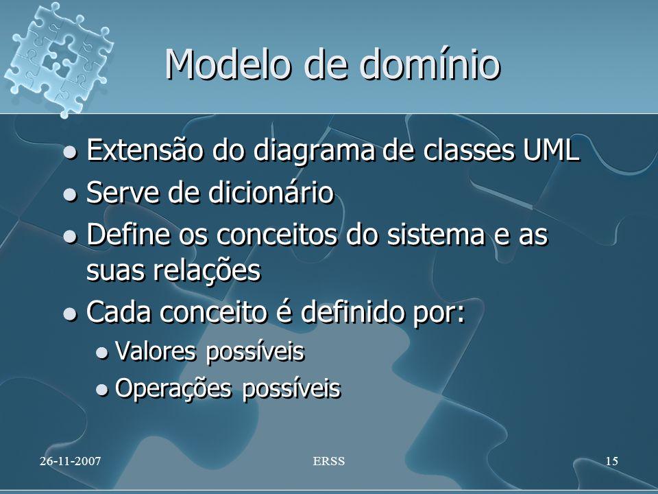 Modelo de domínio Extensão do diagrama de classes UML Serve de dicionário Define os conceitos do sistema e as suas relações Cada conceito é definido p