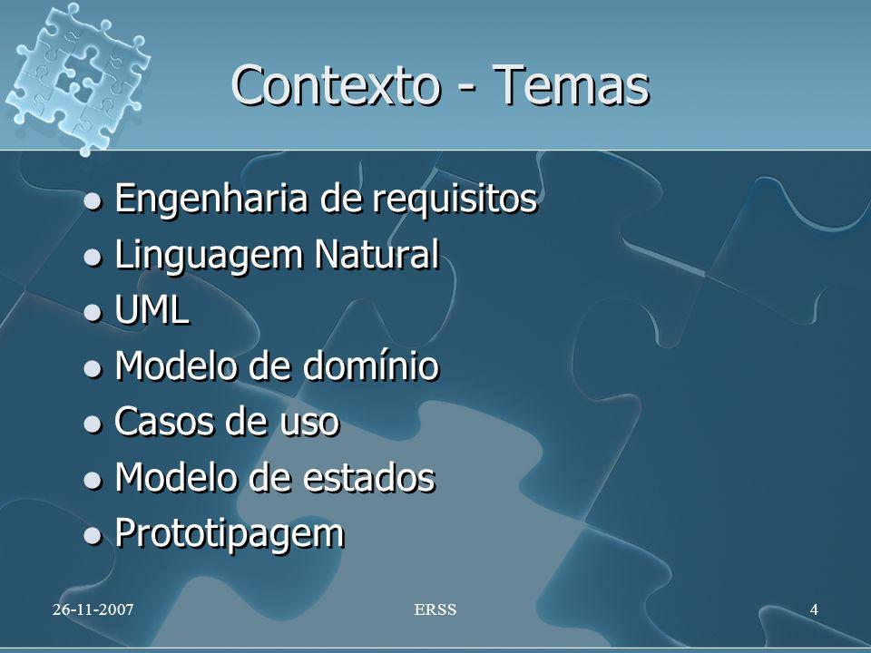Contexto - Temas Engenharia de requisitos Linguagem Natural UML Modelo de domínio Casos de uso Modelo de estados Prototipagem Engenharia de requisitos