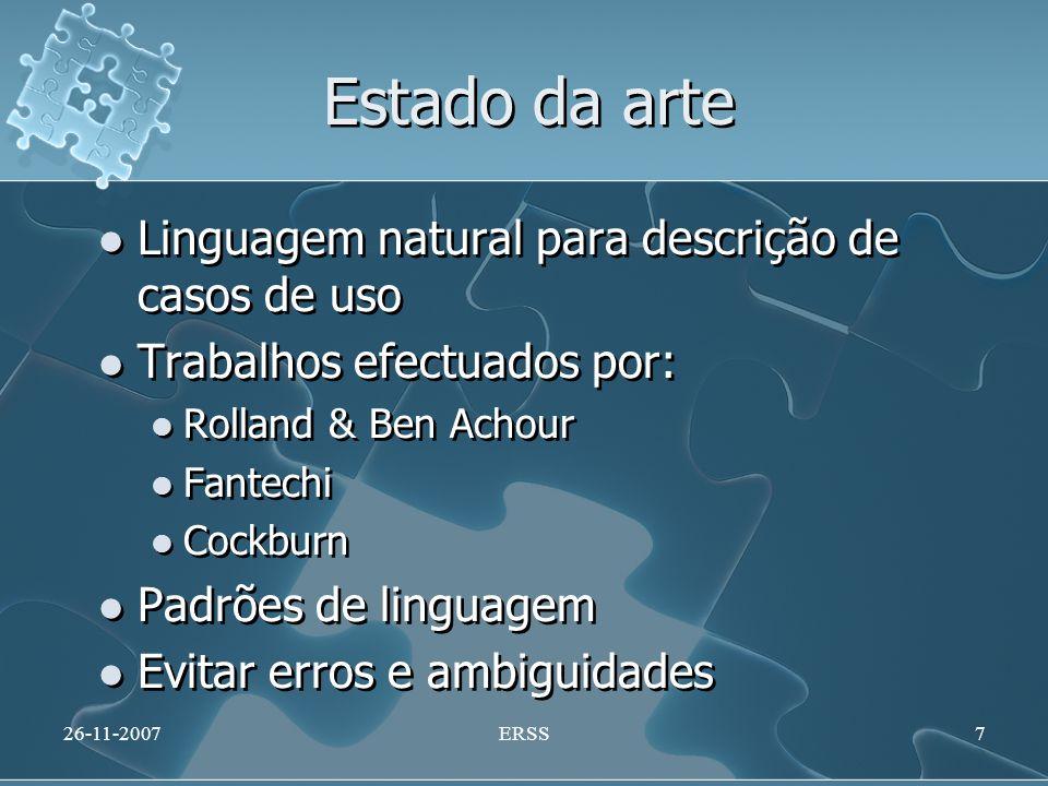 Estado da arte Linguagem natural para descrição de casos de uso Trabalhos efectuados por: Rolland & Ben Achour Fantechi Cockburn Padrões de linguagem