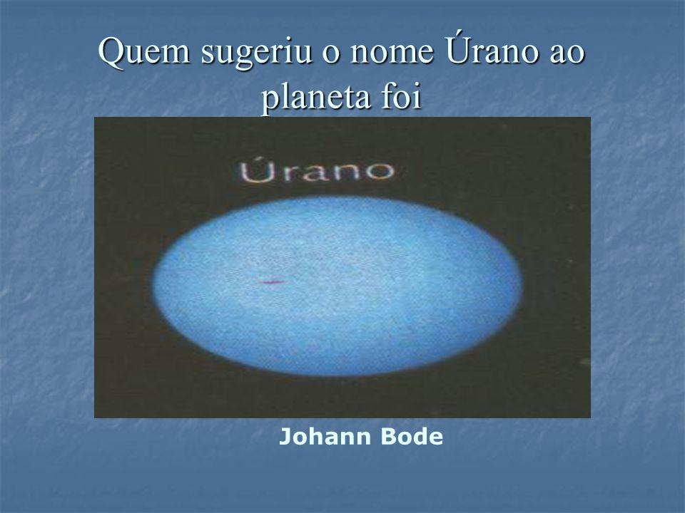 Quem sugeriu o nome Úrano ao planeta foi Johann Bode