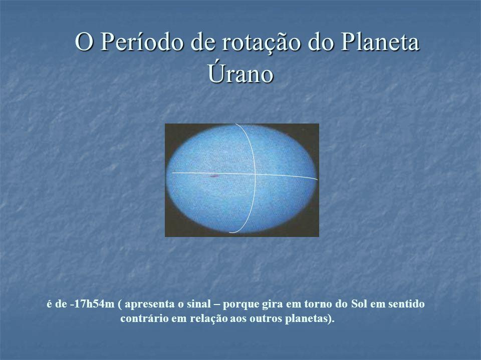 O Período de rotação do Planeta Úrano O Período de rotação do Planeta Úrano é de -17h54m ( apresenta o sinal – porque gira em torno do Sol em sentido