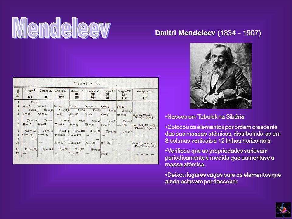 Nasceu em Tobolsk na Sibéria Colocou os elementos por ordem crescente das sua massas atómicas, distribuindo-as em 8 colunas verticais e 12 linhas hori