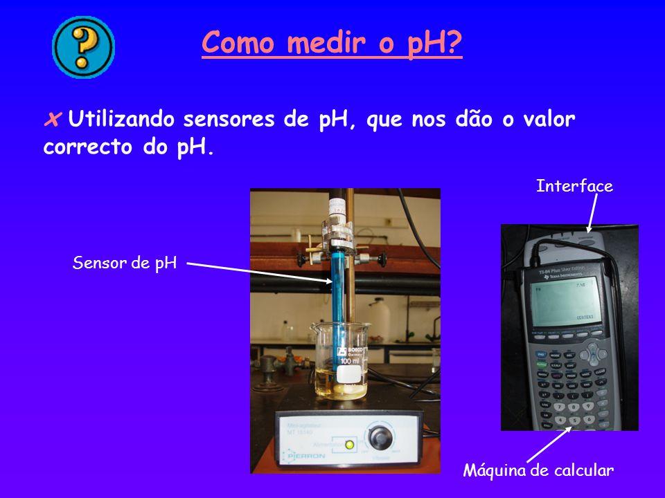 x Utilizando sensores de pH, que nos dão o valor correcto do pH. Como medir o pH? Sensor de pH Interface Máquina de calcular