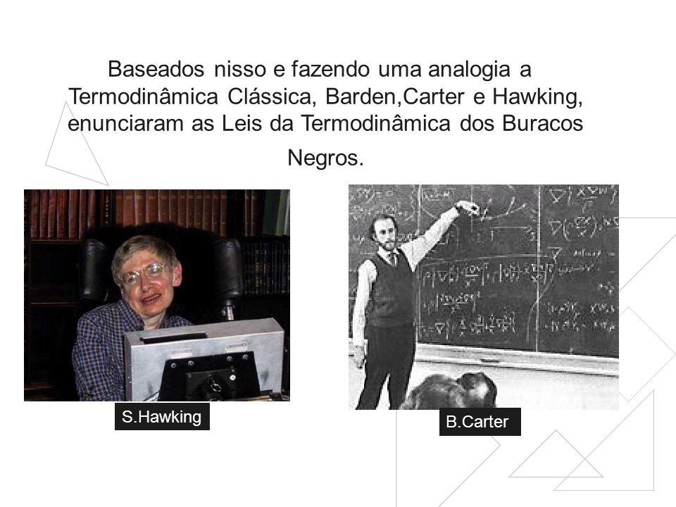 Baseados nisso e fazendo uma analogia a Termodinâmica Clássica, Barden,Carter e Hawking, enunciaram as Leis da Termodinâmica dos Buracos Negros.