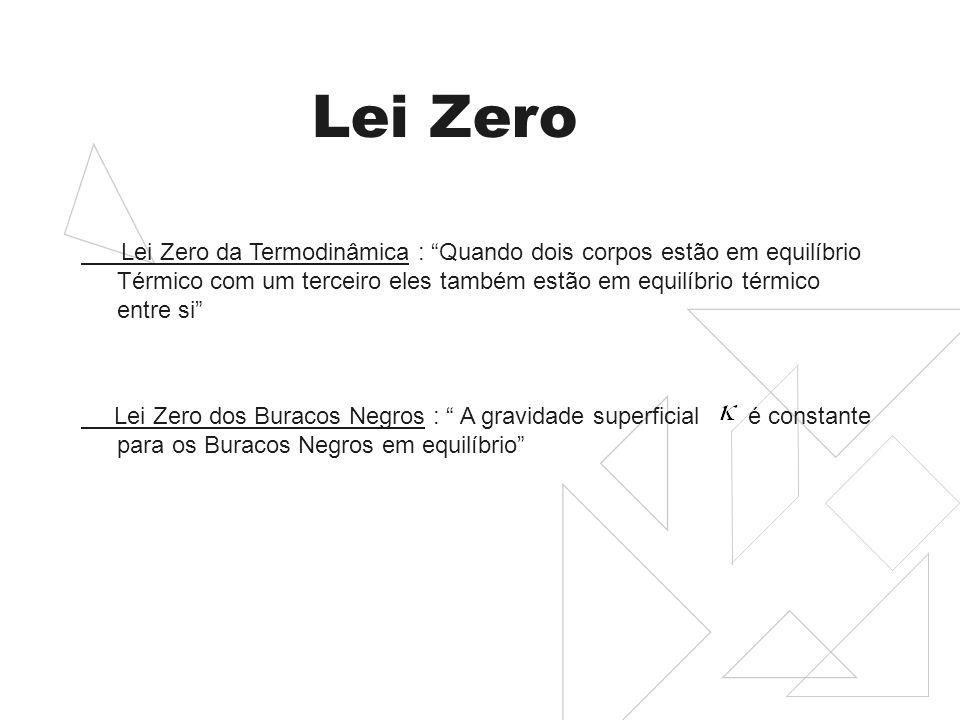 Lei Zero Lei Zero da Termodinâmica : Quando dois corpos estão em equilíbrio Térmico com um terceiro eles também estão em equilíbrio térmico entre si Lei Zero dos Buracos Negros : A gravidade superficial é constante para os Buracos Negros em equilíbrio