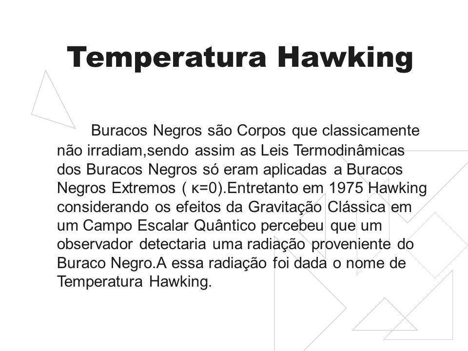 Temperatura Hawking Buracos Negros são Corpos que classicamente não irradiam,sendo assim as Leis Termodinâmicas dos Buracos Negros só eram aplicadas a Buracos Negros Extremos ( κ=0).Entretanto em 1975 Hawking considerando os efeitos da Gravitação Clássica em um Campo Escalar Quântico percebeu que um observador detectaria uma radiação proveniente do Buraco Negro.A essa radiação foi dada o nome de Temperatura Hawking.
