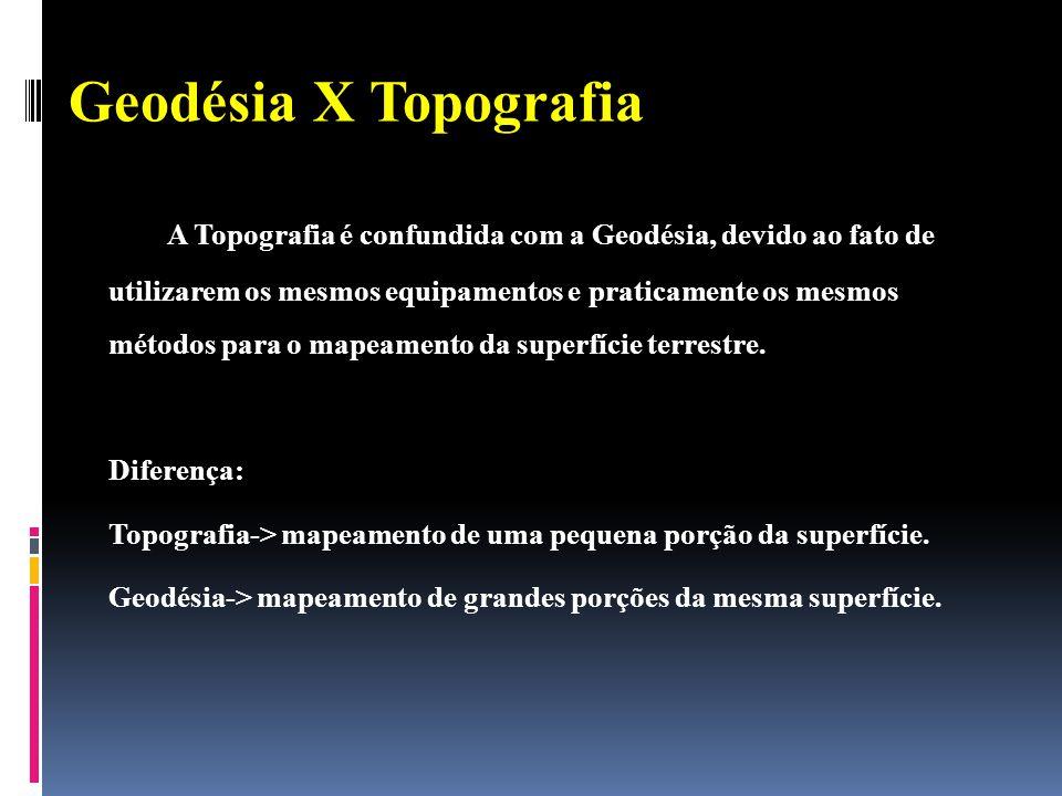 Geodésia X Topografia A Topografia é confundida com a Geodésia, devido ao fato de utilizarem os mesmos equipamentos e praticamente os mesmos métodos para o mapeamento da superfície terrestre.