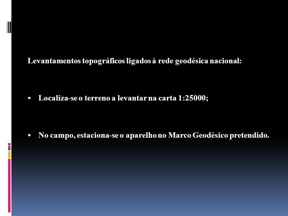 Levantamentos topográficos ligados à rede geodésica nacional: Localiza-se o terreno a levantar na carta 1:25000; No campo, estaciona-se o aparelho no Marco Geodésico pretendido.