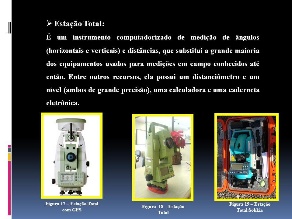 Estação Total: É um instrumento computadorizado de medição de ângulos (horizontais e verticais) e distâncias, que substitui a grande maioria dos equipamentos usados para medições em campo conhecidos até então.
