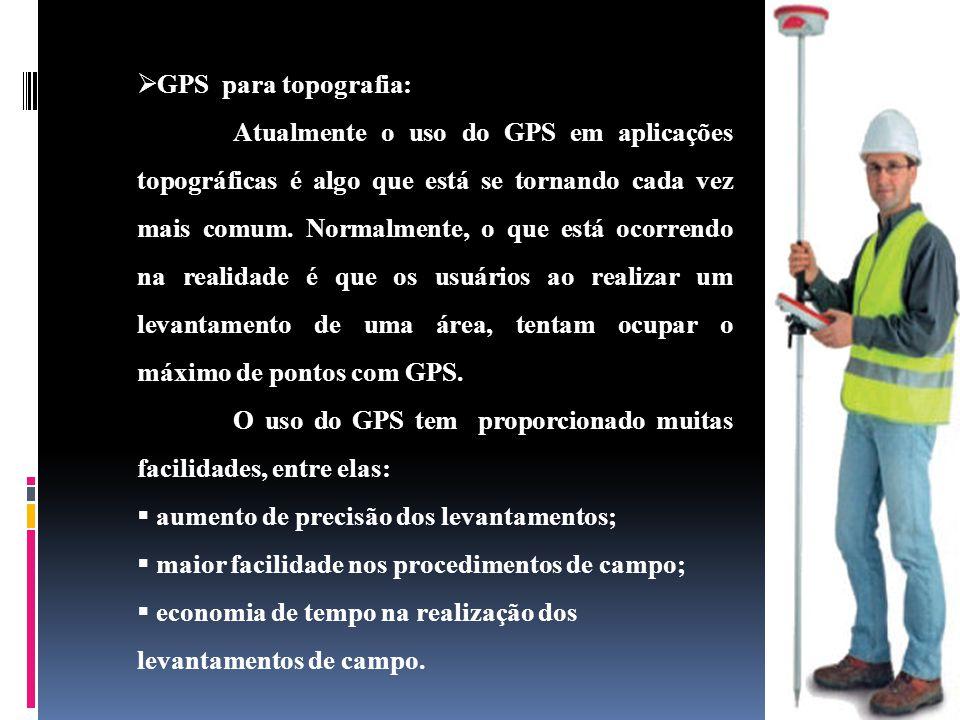 GPS para topografia: Atualmente o uso do GPS em aplicações topográficas é algo que está se tornando cada vez mais comum.