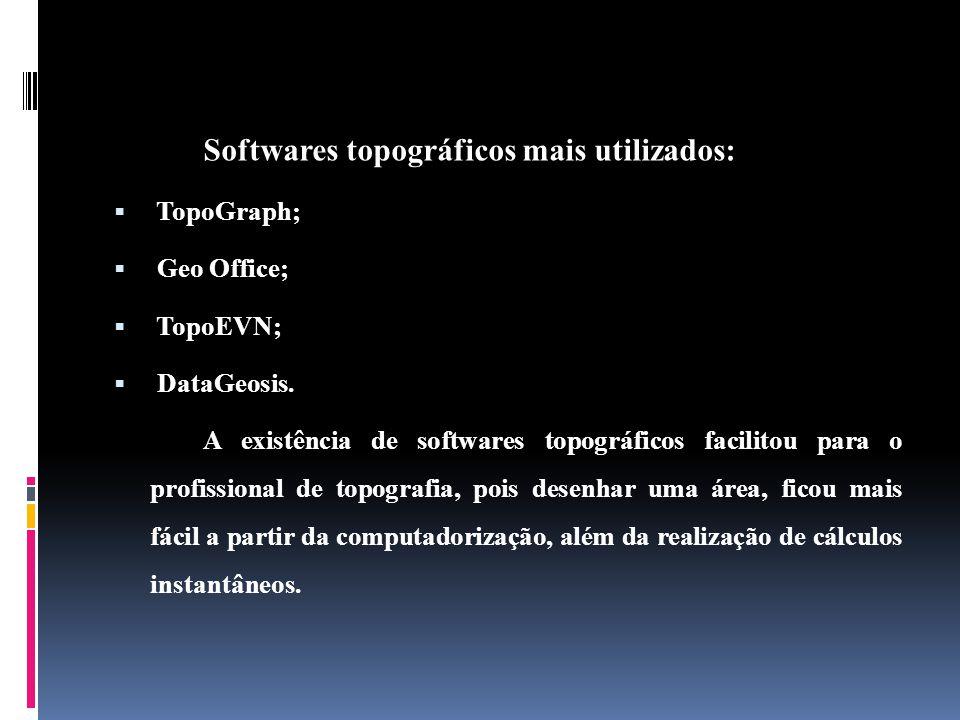 Softwares topográficos mais utilizados: TopoGraph; Geo Office; TopoEVN; DataGeosis.