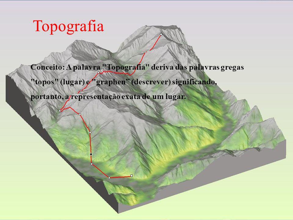 Topografia Conceito: A palavra Topografia deriva das palavras gregas topos (lugar) e graphen (descrever) significando, portanto, a representação exata de um lugar.
