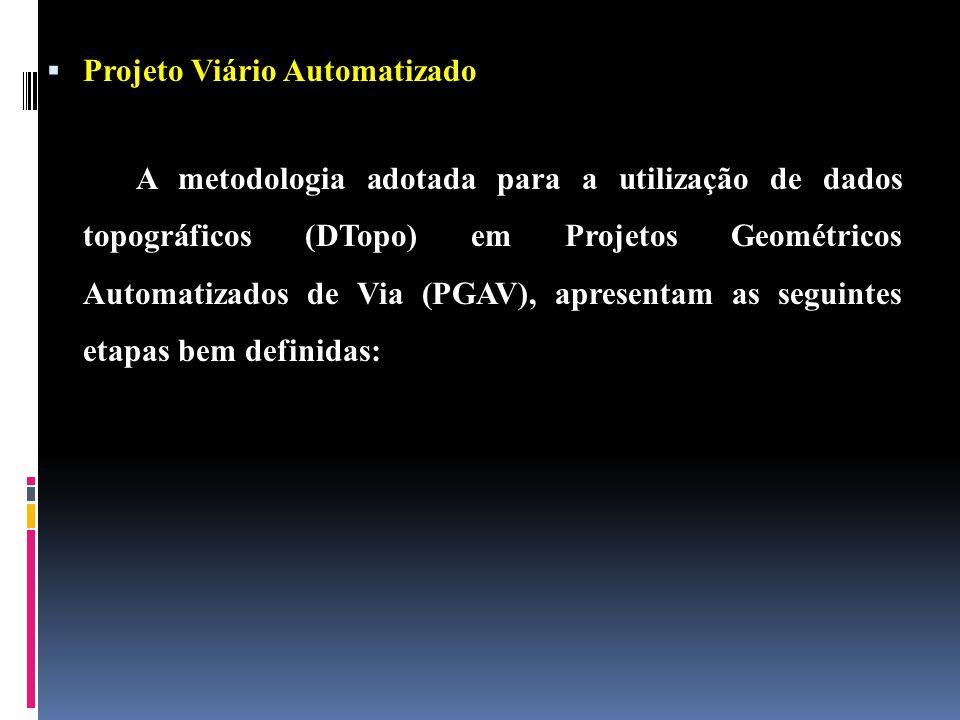 Projeto Viário Automatizado A metodologia adotada para a utilização de dados topográficos (DTopo) em Projetos Geométricos Automatizados de Via (PGAV), apresentam as seguintes etapas bem definidas: