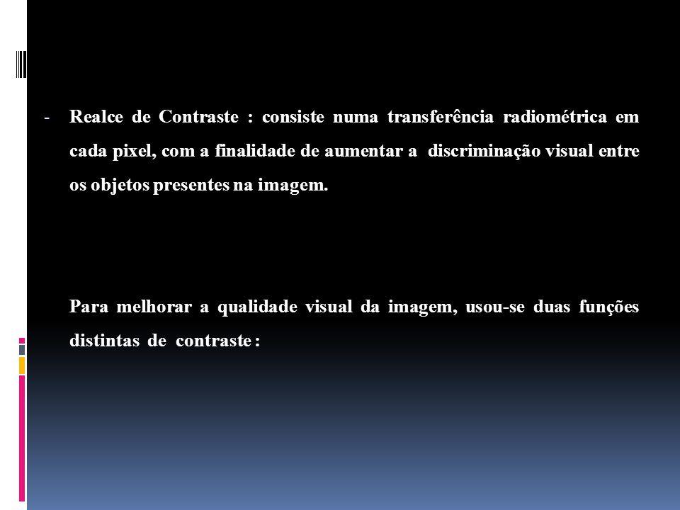 - Realce de Contraste : consiste numa transferência radiométrica em cada pixel, com a finalidade de aumentar a discriminação visual entre os objetos presentes na imagem.