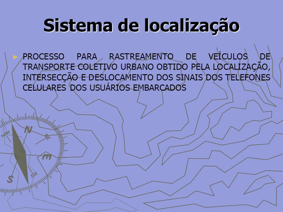 Sistema de localização PROCESSO PARA RASTREAMENTO DE VEÍCULOS DE TRANSPORTE COLETIVO URBANO OBTIDO PELA LOCALIZAÇÃO, INTERSECÇÃO E DESLOCAMENTO DOS SINAIS DOS TELEFONES CELULARES DOS USUÁRIOS EMBARCADOS
