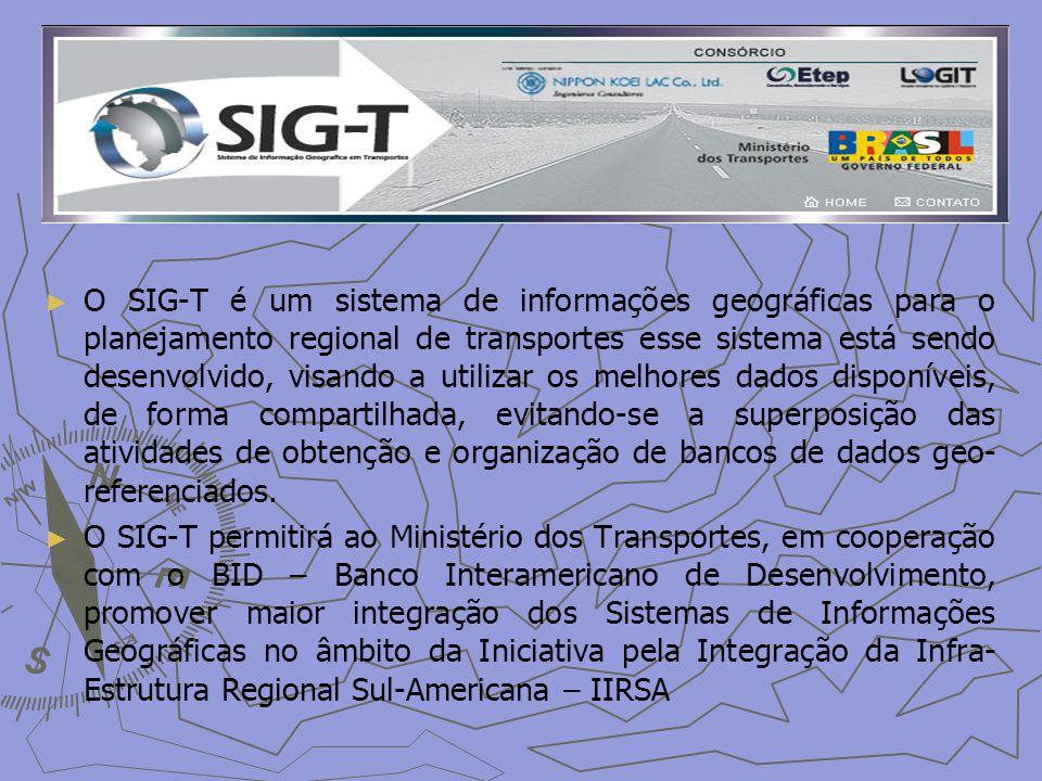 O SIG-T é um sistema de informações geográficas para o planejamento regional de transportes esse sistema está sendo desenvolvido, visando a utilizar os melhores dados disponíveis, de forma compartilhada, evitando-se a superposição das atividades de obtenção e organização de bancos de dados geo- referenciados.