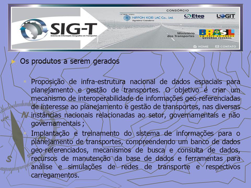 Os produtos a serem gerados Proposição de infra-estrutura nacional de dados espaciais para planejamento e gestão de transportes.