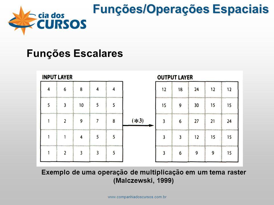 Funções Escalares Exemplo de uma operação de multiplicação em um tema raster (Malczewski, 1999) Funções/Operações Espaciais www.companhiadoscursos.com