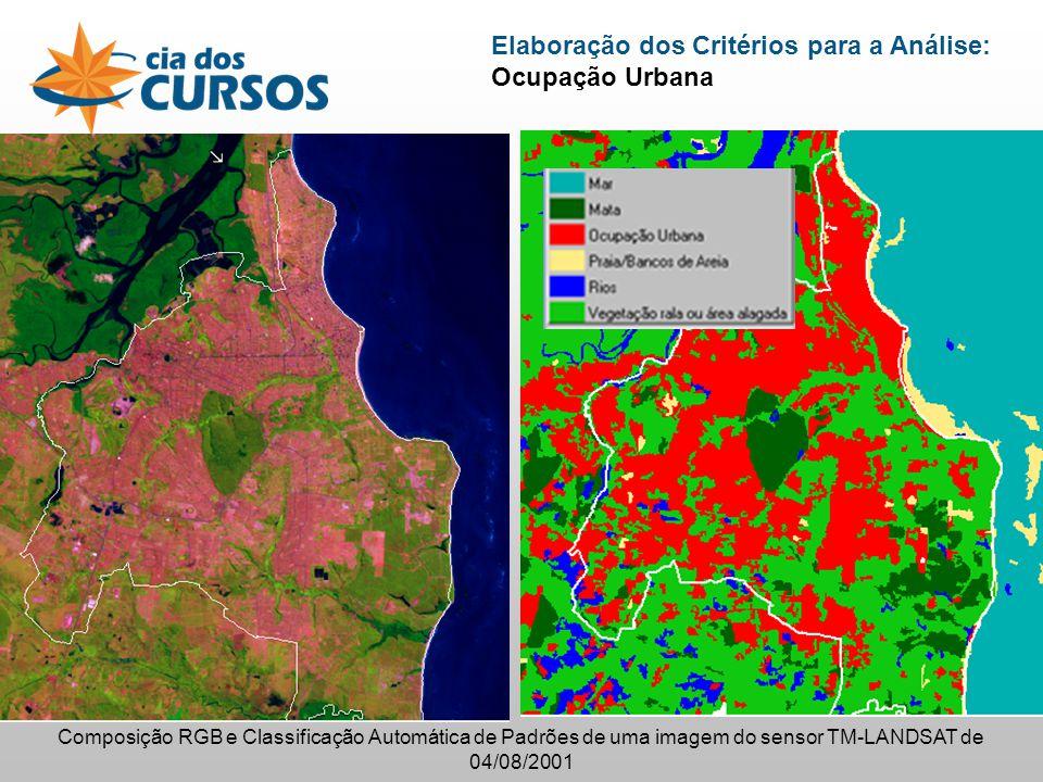 Elaboração dos Critérios para a Análise: Ocupação Urbana Composição RGB e Classificação Automática de Padrões de uma imagem do sensor TM-LANDSAT de 04