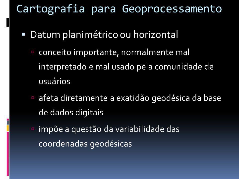 Sistema geodésico Os sistemas geodésicos buscam uma melhor correlação entre o geóide e o elipsóide; Escolhe-se um elipsóide de revolução que melhor se