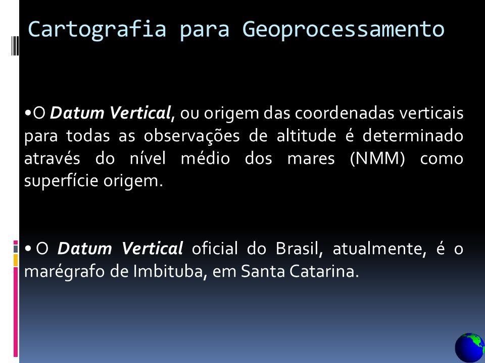 Cartografia para Geoprocessamento Datum planimétrico ou horizontal conceito importante, normalmente mal interpretado e mal usado pela comunidade de us