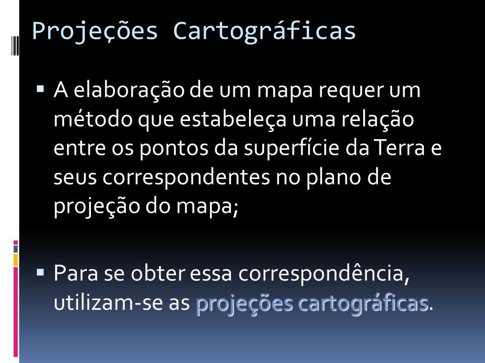 Projeções Cartográficas aproximadas Todos os mapas são representações aproximadas da superfície terrestre; É impossível representar uma superfície cur