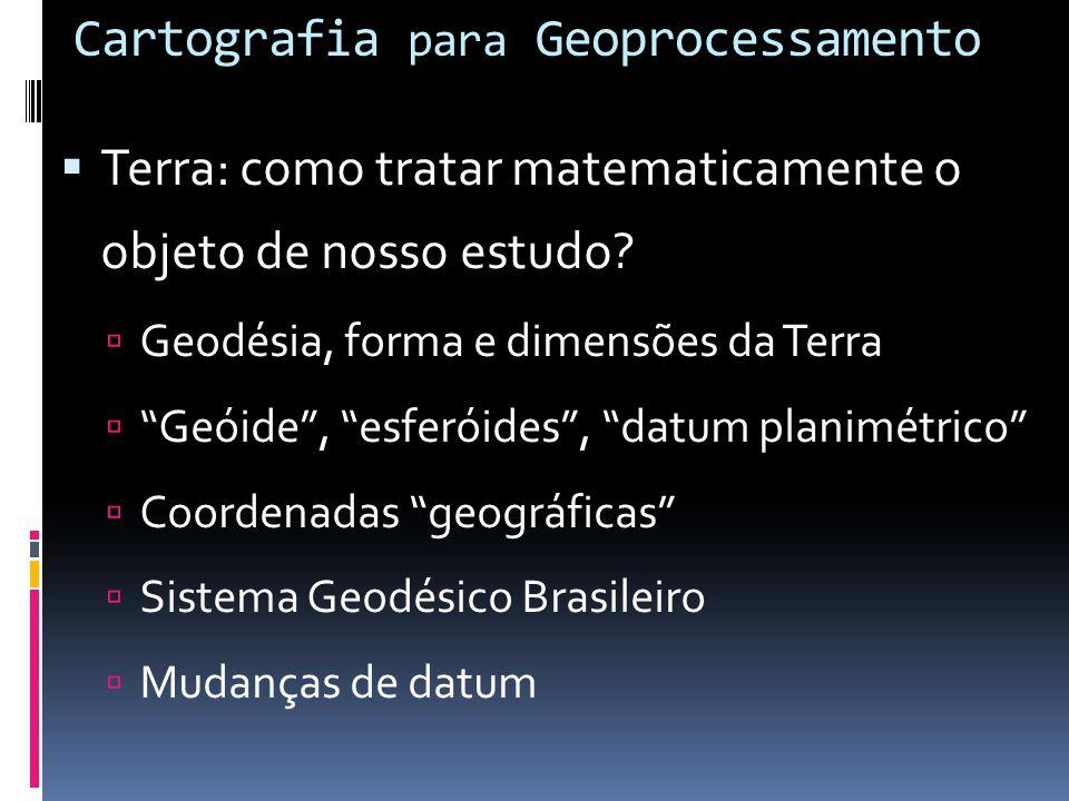 Cartografia Conceito: Ciência, técnica e a arte de representar a superfície terrestre Mapa: Representação no plano, em escala pequena, dos aspectos ge