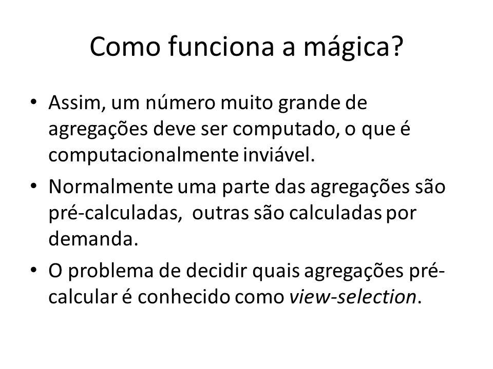 Como funciona a mágica? Assim, um número muito grande de agregações deve ser computado, o que é computacionalmente inviável. Normalmente uma parte das