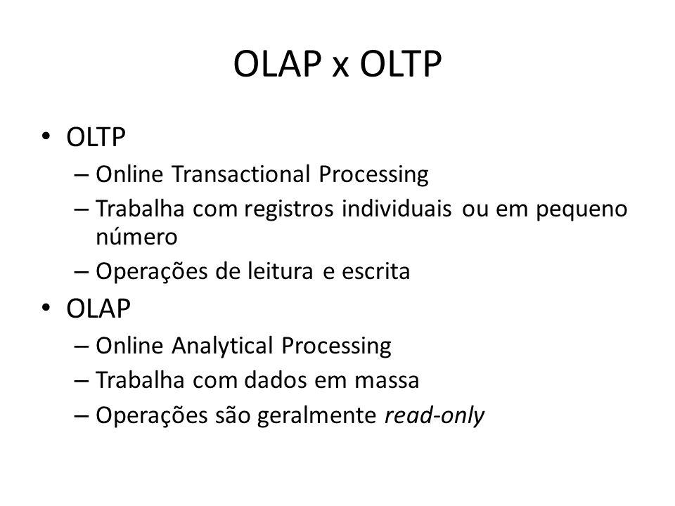 OLAP x OLTP OLTP – Online Transactional Processing – Trabalha com registros individuais ou em pequeno número – Operações de leitura e escrita OLAP – O