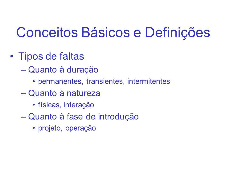 Conceitos Básicos e Definições Tipos de faltas –Quanto à duração permanentes, transientes, intermitentes –Quanto à natureza físicas, interação –Quanto à fase de introdução projeto, operação