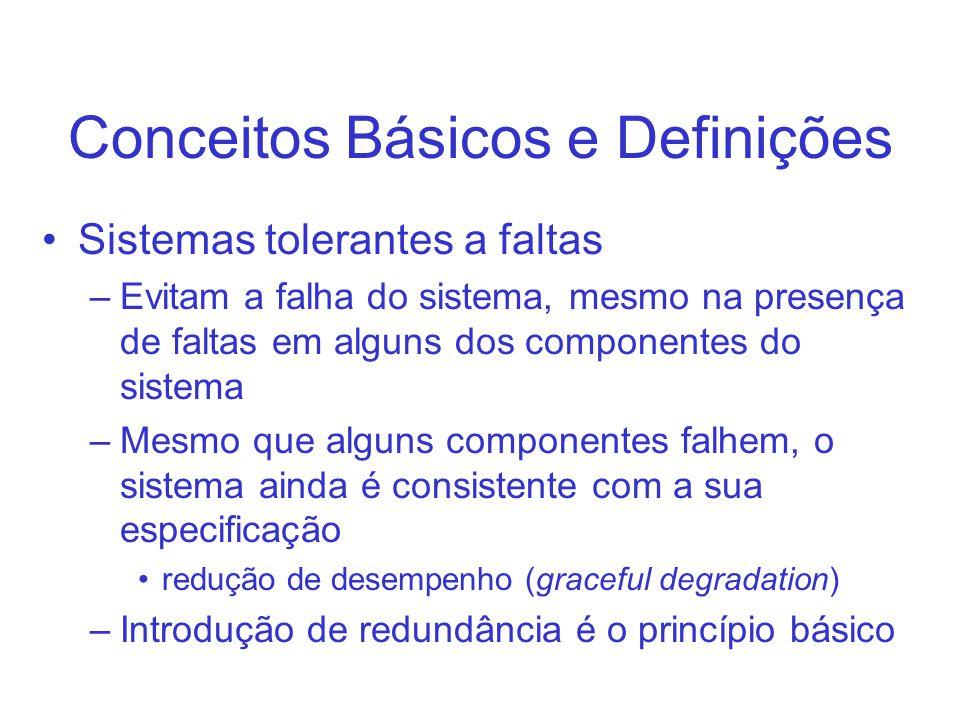 Conceitos Básicos e Definições Sistemas tolerantes a faltas –Evitam a falha do sistema, mesmo na presença de faltas em alguns dos componentes do siste