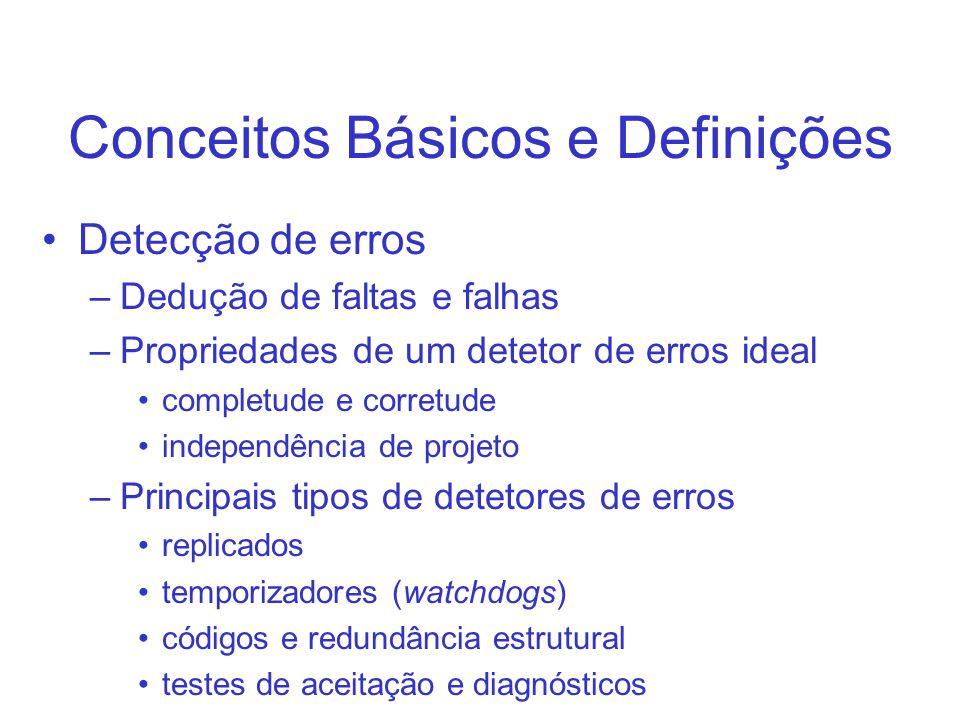 Conceitos Básicos e Definições Detecção de erros –Dedução de faltas e falhas –Propriedades de um detetor de erros ideal completude e corretude indepen
