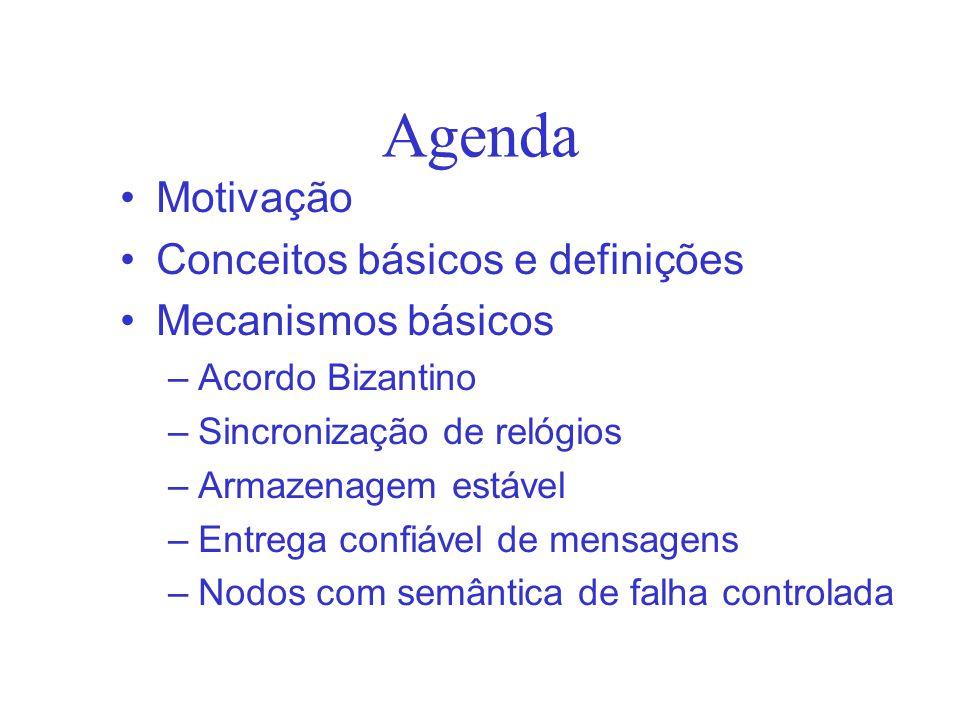 Agenda Motivação Conceitos básicos e definições Mecanismos básicos –Acordo Bizantino –Sincronização de relógios –Armazenagem estável –Entrega confiável de mensagens –Nodos com semântica de falha controlada