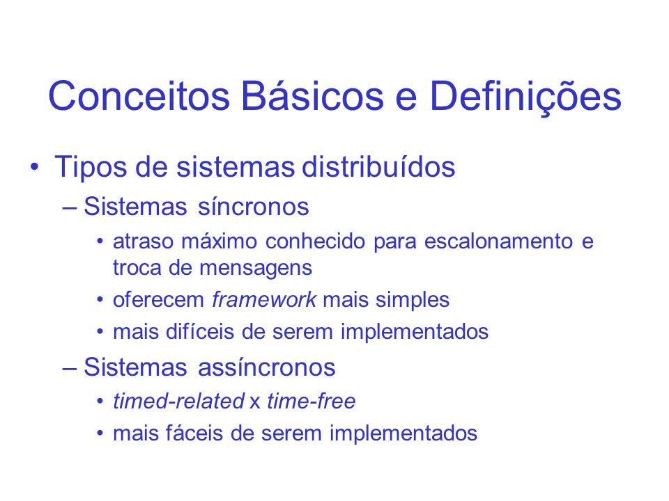 Conceitos Básicos e Definições Tipos de sistemas distribuídos –Sistemas síncronos atraso máximo conhecido para escalonamento e troca de mensagens oferecem framework mais simples mais difíceis de serem implementados –Sistemas assíncronos timed-related x time-free mais fáceis de serem implementados