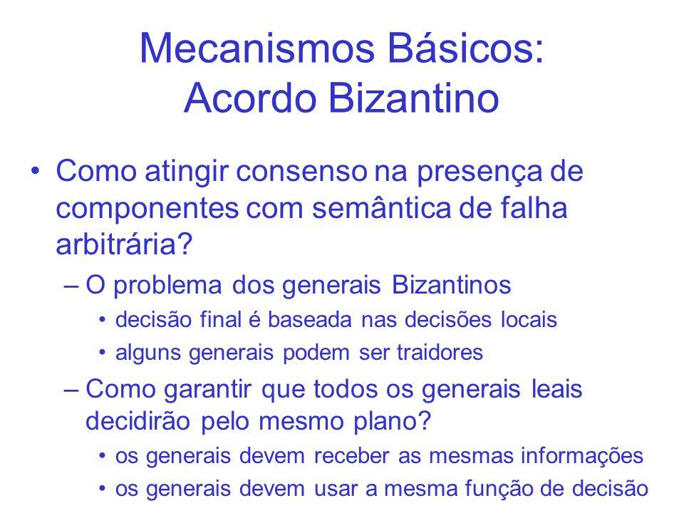 Mecanismos Básicos: Acordo Bizantino Como atingir consenso na presença de componentes com semântica de falha arbitrária? –O problema dos generais Biza
