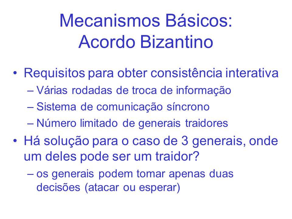 Mecanismos Básicos: Acordo Bizantino Requisitos para obter consistência interativa –Várias rodadas de troca de informação –Sistema de comunicação síncrono –Número limitado de generais traidores Há solução para o caso de 3 generais, onde um deles pode ser um traidor.