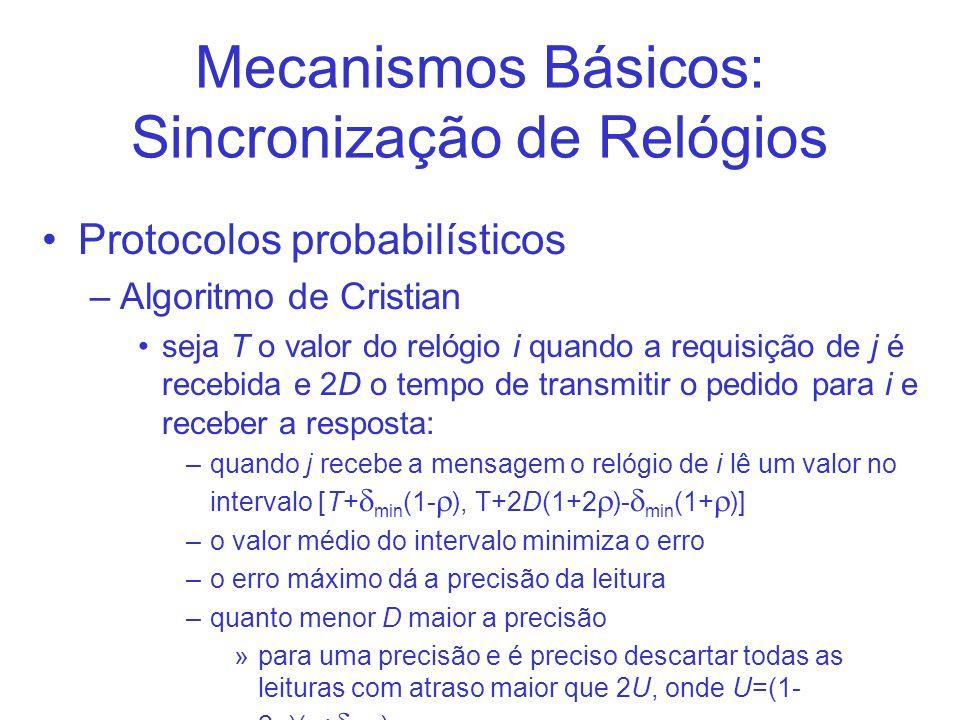 Mecanismos Básicos: Sincronização de Relógios Protocolos probabilísticos –Algoritmo de Cristian seja T o valor do relógio i quando a requisição de j é