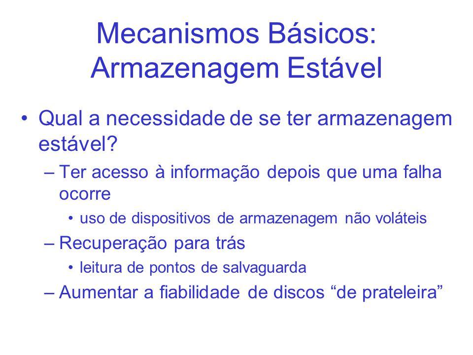 Mecanismos Básicos: Armazenagem Estável Qual a necessidade de se ter armazenagem estável.