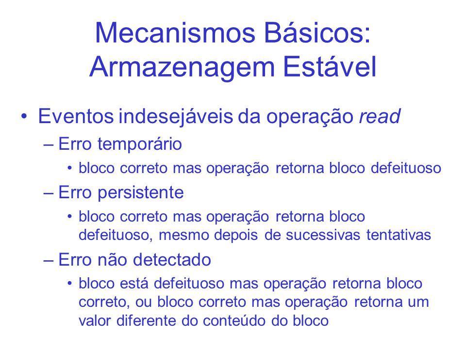 Mecanismos Básicos: Armazenagem Estável Eventos indesejáveis da operação read –Erro temporário bloco correto mas operação retorna bloco defeituoso –Er