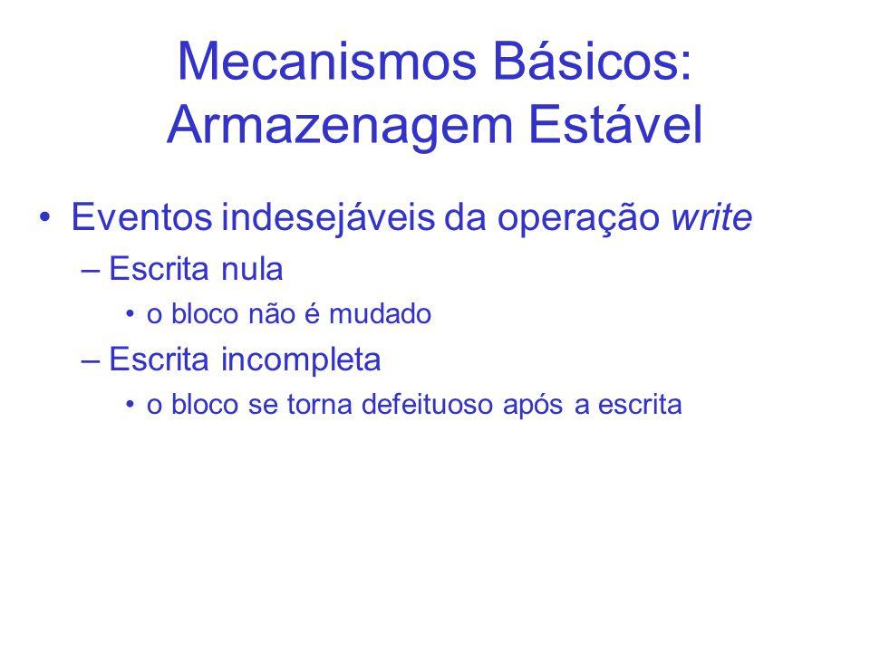 Mecanismos Básicos: Armazenagem Estável Eventos indesejáveis da operação write –Escrita nula o bloco não é mudado –Escrita incompleta o bloco se torna defeituoso após a escrita