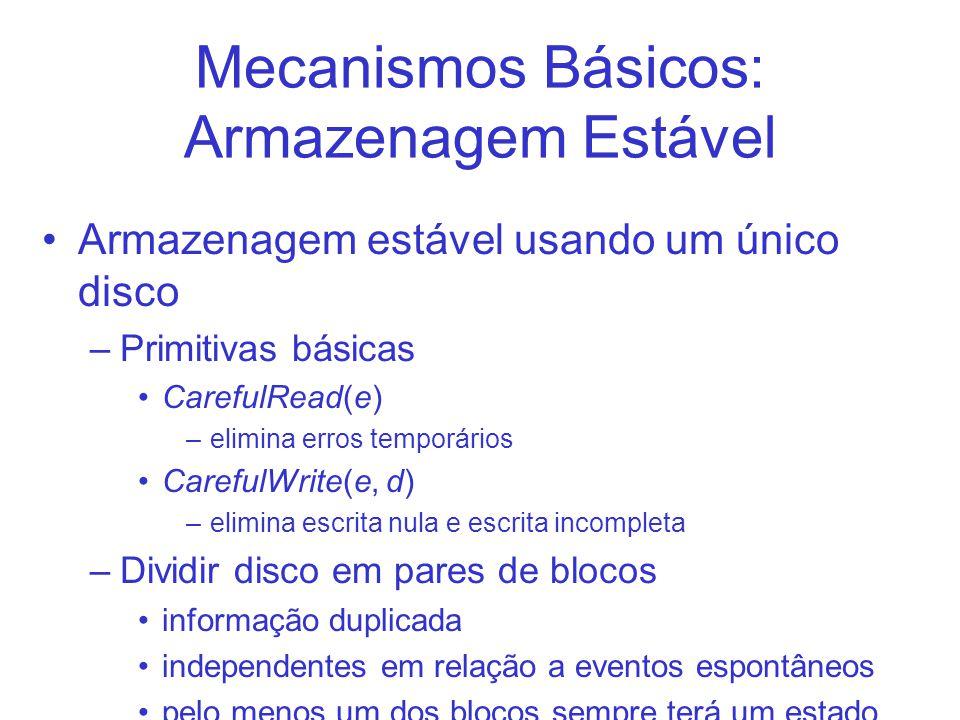 Mecanismos Básicos: Armazenagem Estável Armazenagem estável usando um único disco –Primitivas básicas CarefulRead(e) –elimina erros temporários Carefu