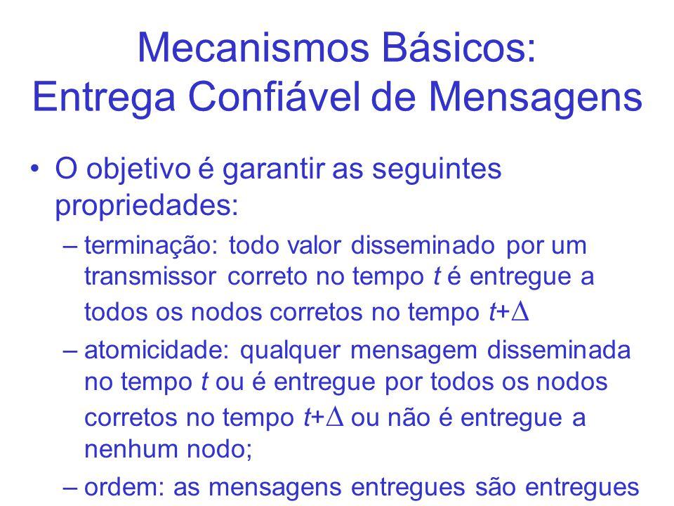 Mecanismos Básicos: Entrega Confiável de Mensagens O objetivo é garantir as seguintes propriedades: –terminação: todo valor disseminado por um transmi