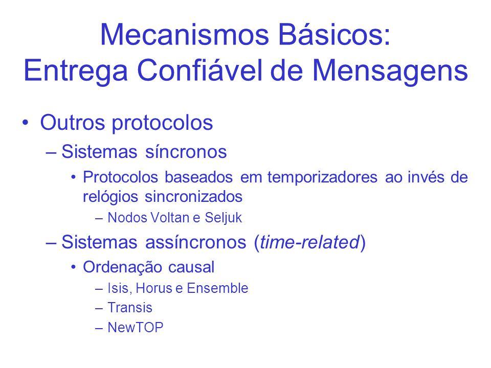 Mecanismos Básicos: Entrega Confiável de Mensagens Outros protocolos –Sistemas síncronos Protocolos baseados em temporizadores ao invés de relógios si