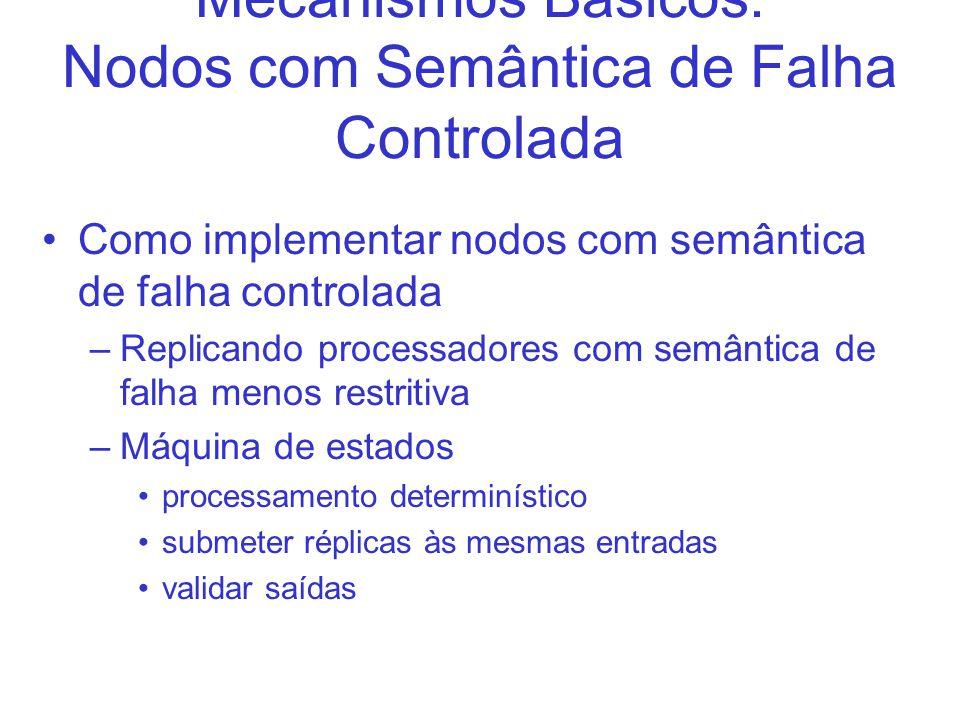 Mecanismos Básicos: Nodos com Semântica de Falha Controlada Como implementar nodos com semântica de falha controlada –Replicando processadores com semântica de falha menos restritiva –Máquina de estados processamento determinístico submeter réplicas às mesmas entradas validar saídas