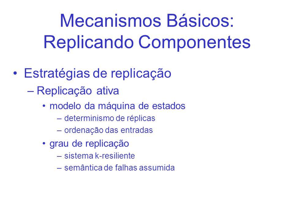 Mecanismos Básicos: Replicando Componentes Estratégias de replicação –Replicação ativa modelo da máquina de estados –determinismo de réplicas –ordenação das entradas grau de replicação –sistema k-resiliente –semântica de falhas assumida